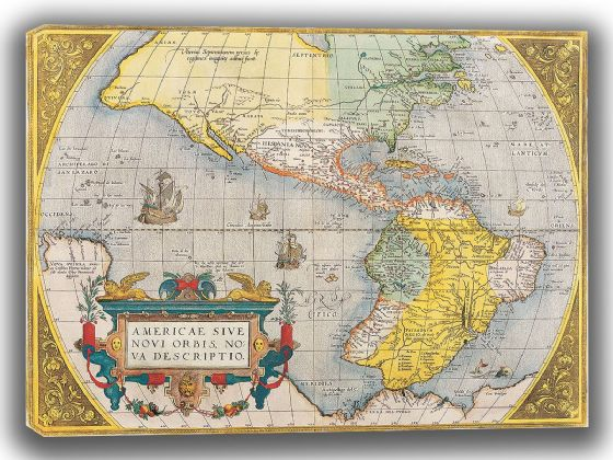 Ortelius, Abraham: Map of the Americas. Antique/Vintage Map. Fine Art Canvas. Sizes: A4/A3/A2/A1 (003901)
